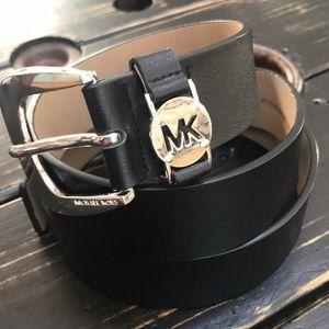 Michael Kors Black Belt &Silver Embellished Buckle